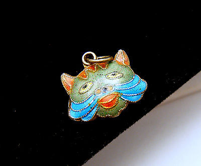 Vintage Chinese Enamel Puffy Cat Face Charm Double Sided Marked Silver Colorful on Lookza