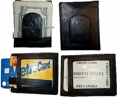 Lot of 4 New Leather Money Clip, Credit card 1 ID holder wallet money clip bnwt