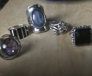 7-7.5 rings with onyx. Lavender colour stone, blue colour stone