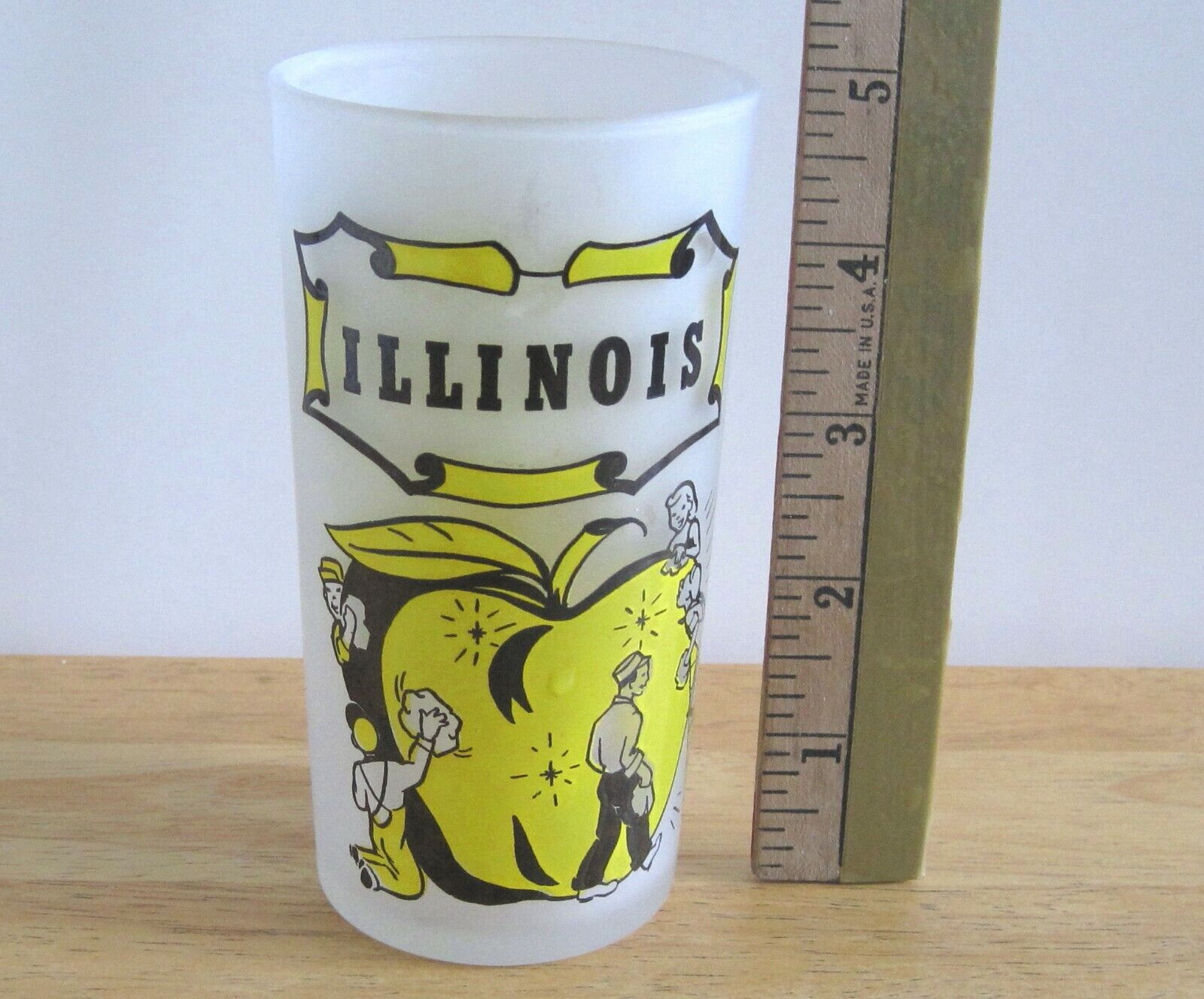 Vintage Frosted Illinois State Souvenir Drinking Glass Hazel-Atlas Gay Fad  - $9.75