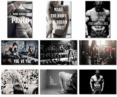 9X Poster Fabric Bodybuilding Men Girl Fitness Workout Quotes Motivational In