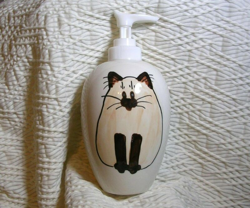 Siamese Himalayan Cat Pottery Lotion / Soap Dispenser Handmade Grace M. Smith