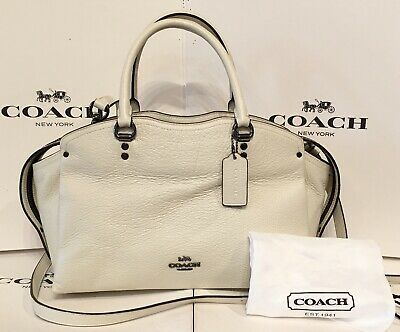 Coach 67710 Drew Chalk Pebbled Leather With Snakeskin Detail 2/Way Satchel