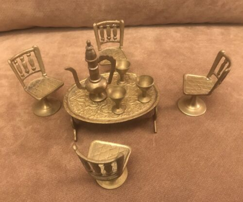 9 PIECE MINIATURE BRASS TABLE - 4 CHAIRS - PITCHER AND 3 GOBLETS MADE IN INDIA - $21.99