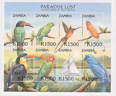 ZAMBIA - EXOTIC BIRDS OF THE TROPICS, 2000 - SC 886 SHEETLET OF 8 MNH