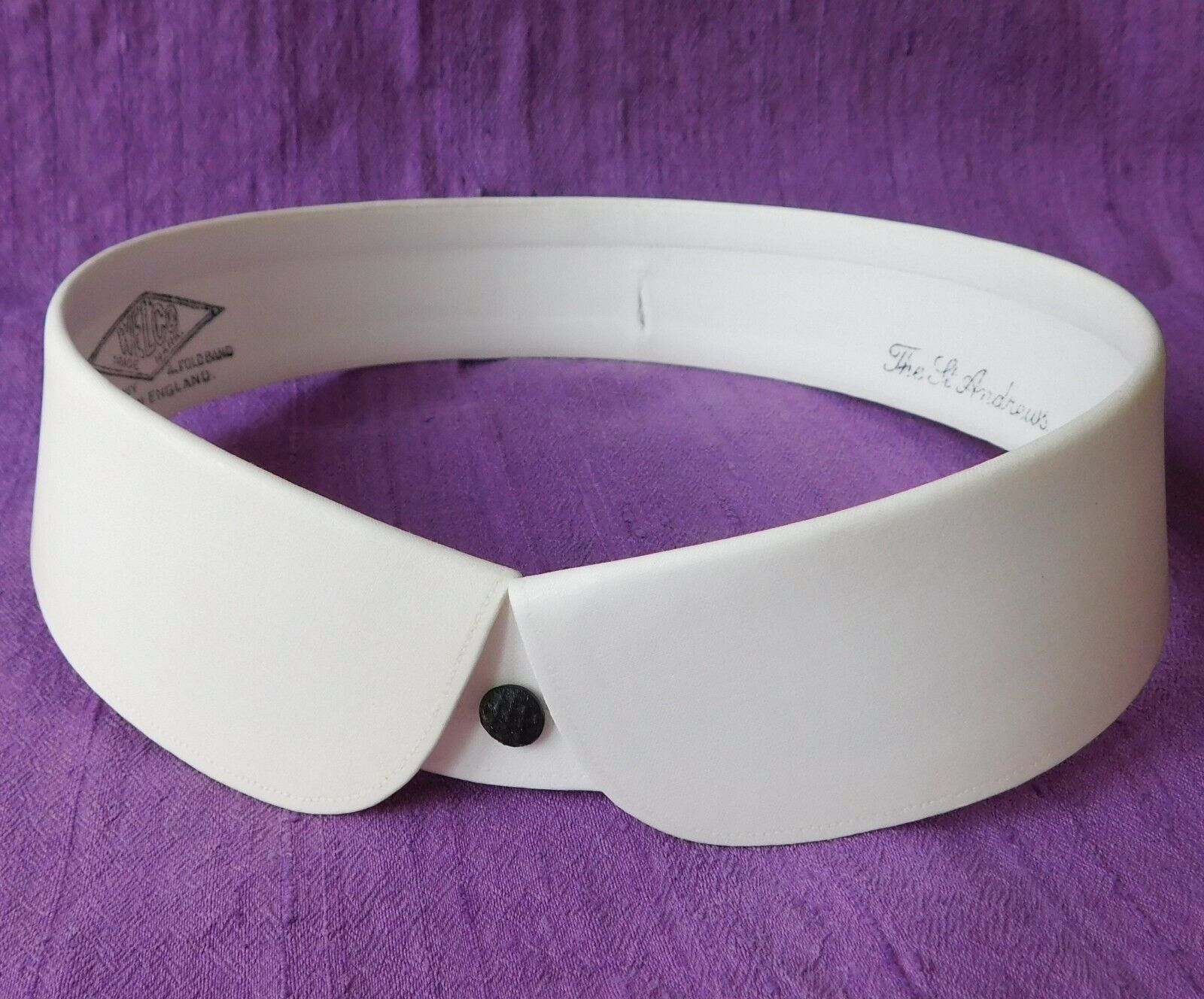"Vintage Welco golf collar size 18.5"" detachable UNUSED starched FADED St Andrews"