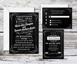 100 Personalized Custom Chalkboard Rustic Wedding Invitations With Envelopes