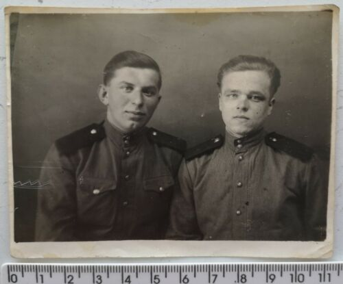 WWII Soviet Soldiers Handsome Young Guys USSR Military Couple Men Vintage Photo