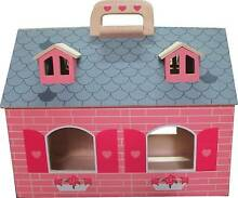19 pce Pink Wooden Toy Dolls House with Furniture and 2 Dolls North Sydney North Sydney Area Preview