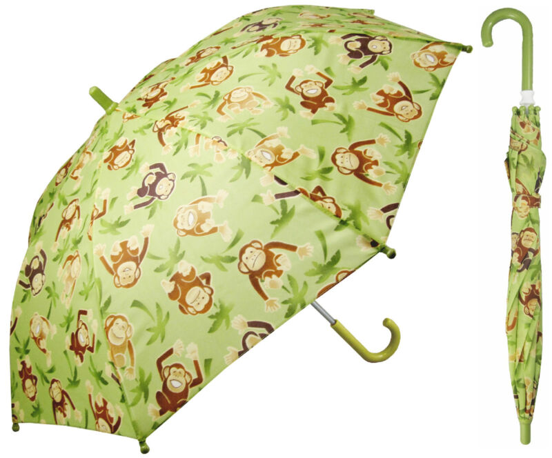 "32"" Arc Children Kid Monkey Green Umbrella - RainStoppers Rain/Sun UV Cute"