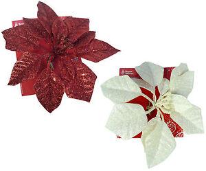 Pack-Of-2-20cm-Glittery-Poinsettia-Clips-1-x-Red-1-x-Cream-PM330