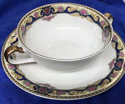 LIMOGES France Cobalt Blue Gold 2 handled pink roses cream soup bowl REGAL