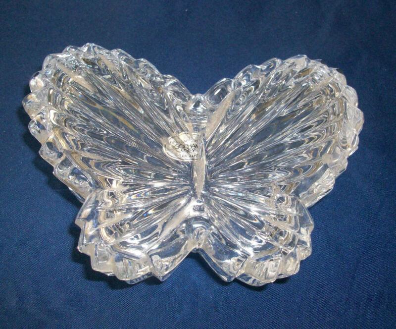 Trinket Box Butterfly Lead Crystal Casket Jewel Separate Lid Gorham Germany Vtg
