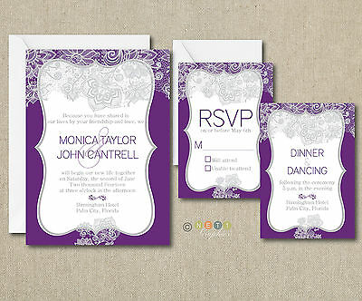 100 Personalized Elegant Lace Wedding Invitations Suite with Envelopes