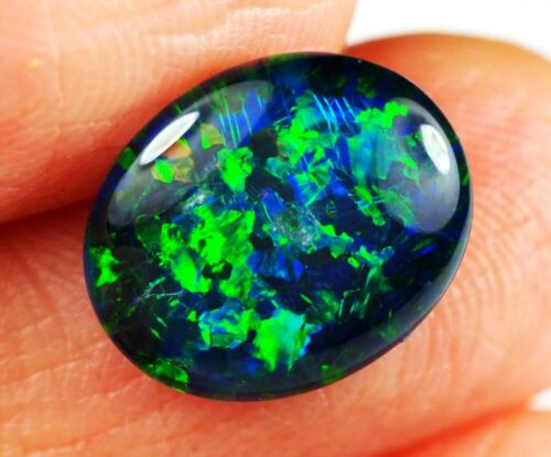 Very Bright Natural Australian Coober Pedy Opal Triplet 12x10 mm pendant ring