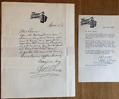 "Singer Arthur Tracy ""The Street Singer"" Pair of Autograph Letters"