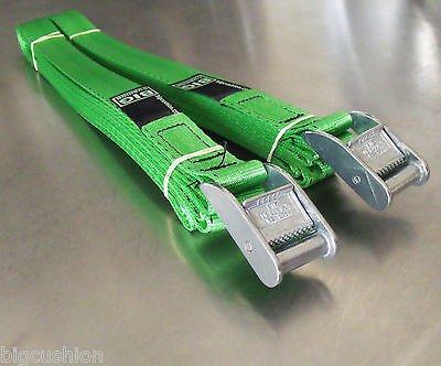 2-pack of 5m x 25mm Cam Buckle GREEN Tie Down Lashing 400kg; Cargo Straps