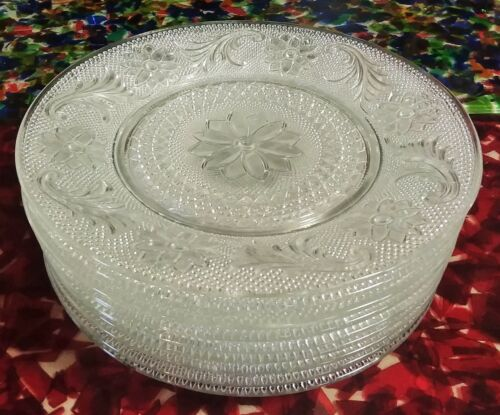 """Set of 9 Vintage Indiana Glass Tiara Pattern Clear Sandwich Plates 8 1/4"""""""