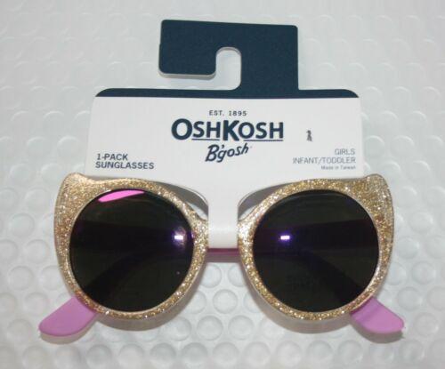New OshKosh Girls Sunglasses 1 2 yr 0-24m 100% UVA-UVB Gold Glitter Cat Eye
