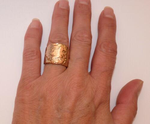 Vintage Large Copper Bark Effect Ring. Size M 1/2.
