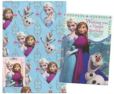 DISNEY FROZEN 1 SHEET OF GIFT WRAP,1 GIFT TAG&1 BIRTHDAY GREETING CARD*1ST P&P