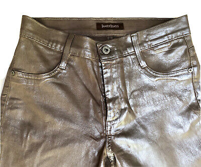 Designer James Jeans Twiggy Coated Java Skinny Stretch Leggings Vegan Leather