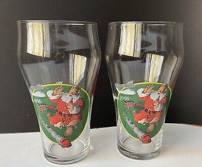 Set 18 Oz. Coca Cola Christmas Santa Toy Train Glasses 1996
