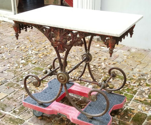 ANTIQUE 19c. ELABORATE FRENCH WROUGHT IRON AND MARBLE BAKERS TABLE
