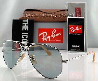 Ray-Ban RB3025 Aviator Sunglasses 9065/I5 Silver Blue Photochromatic Evolve (Ray Ban Aviator Photochromic)