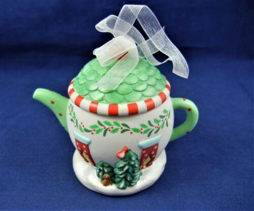 """Hallmark Keepsake Ornament 2001 """"COZY HOME"""" Porcelain Teapot, NEW"""