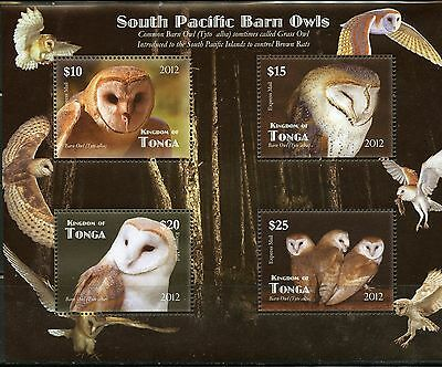TONGA UNISSUED SET OF FOUR OWLS STAMPS SOUVENIR SHEET  MINT NH