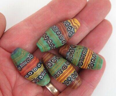 North India / Nepal / Tibet glass wound millefiori trade beads. (4)