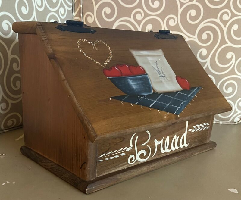 Vintage Wooden Bread Box Hand Painted