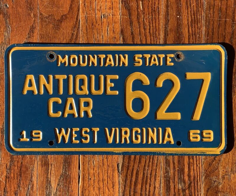 """VINTAGE 1969 WEST VIRGINIA WV LICENSE PLATE ANTIQUE CAR # 627 """"MOUNTAIN STATE"""""""