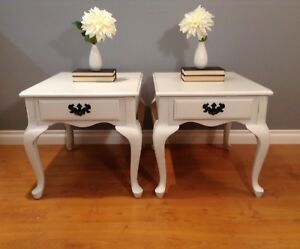 2 White French Provincial End Tables with Drawers