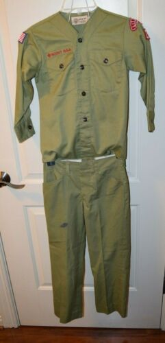 Vintage BOY SCOUTS of AMERICA UNIFORM V-Neck No Collar Shirt Pants 1960s Lot 647