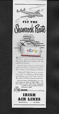 IRISH AIR LINES 1948 SHAMROCK ROUTE NEW YORK/SHANNON/DUBLIN CONSTELLATION AD