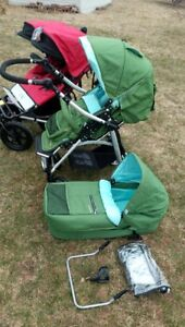 variety of high end strollers, single and double,