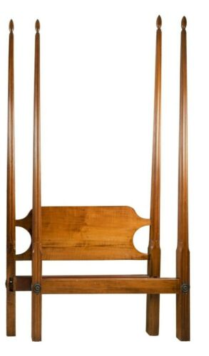 Tiger Maple Twin Four Pencil Post Bed with Frame Bench Made