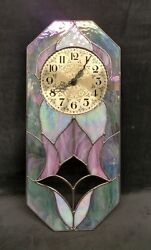 Iridescent Tiffany Style Stained Glass Collectible Wall Clock tulip design