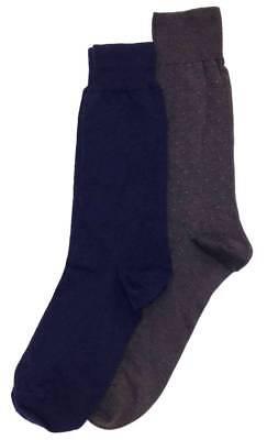 ($34 BLOOMINGDALE'S Men's 2 Pair Pack NAVY BLUE BROWN Crew Dress Socks ONE-SIZE)