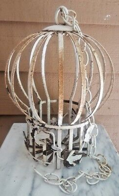 VICTORIAN BIRDCAGE SHABBY CHIC HANGING PLANTER WHITE/RUST TOLE HEAVY METAL