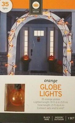 Halloween Orange Globe Light Set Decoration Indoor Outdoor 35 Lights Party Fun