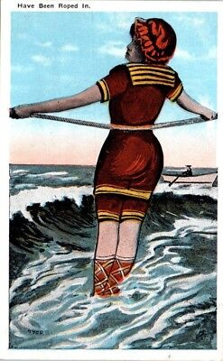 1910s Vintage Beach Postcard Old Style Bathing Suit Swimsuit Have Been Roped In](Old Fashion Suits)