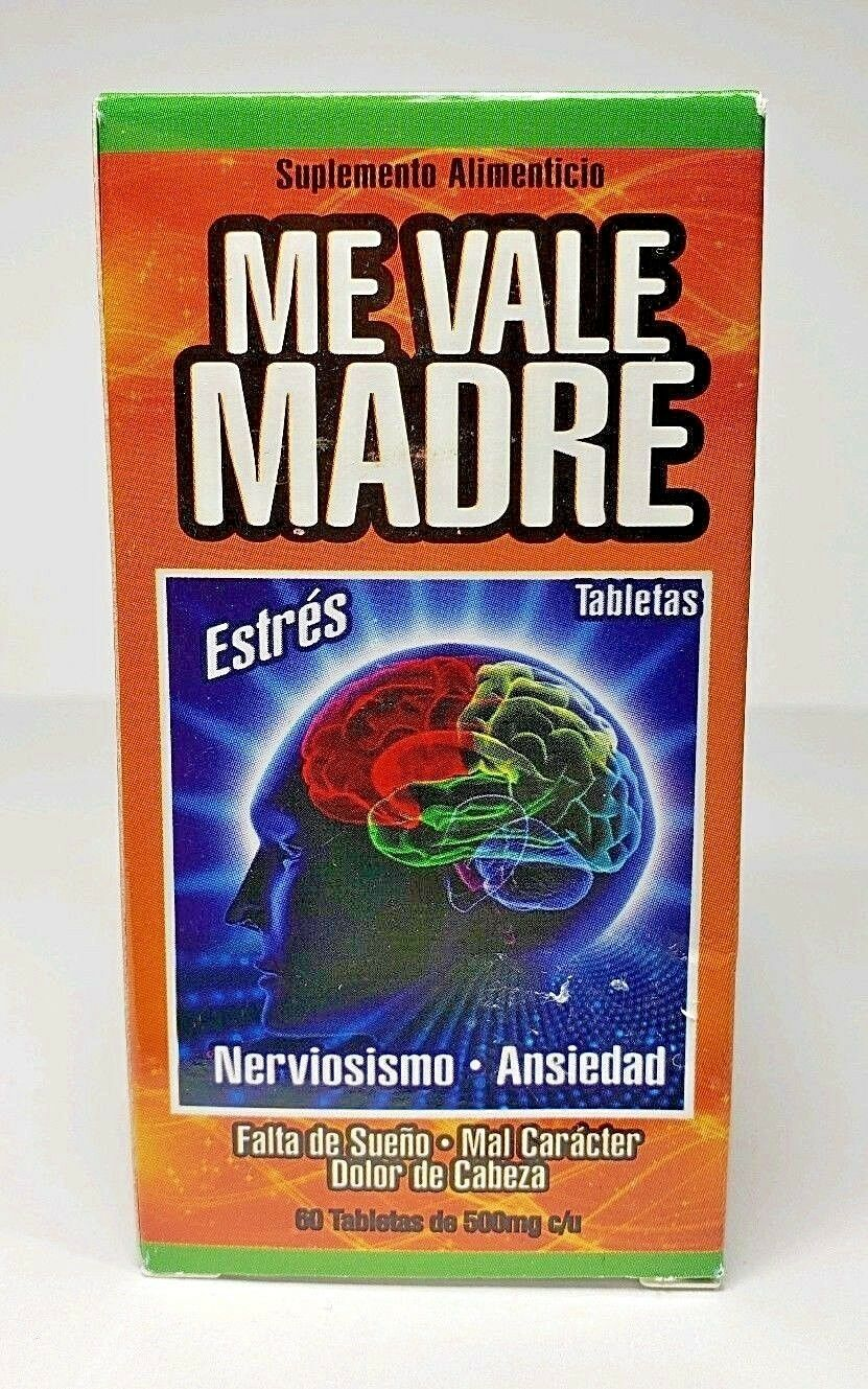 ME VALE MADRE 60 Tablets 500 mg each Support Estres Depresion Ansiedad 4