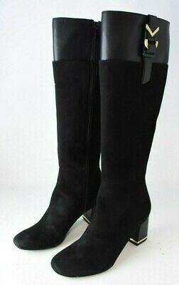 CALVIN KLEIN Candace Kid Suede/Cow Silk Black Boots, US 10M ()