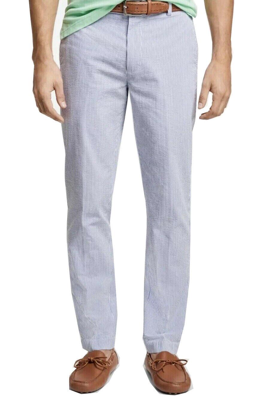 Brooks Brothers Men S Clark Fit Stripe Seersucker Pants Blue