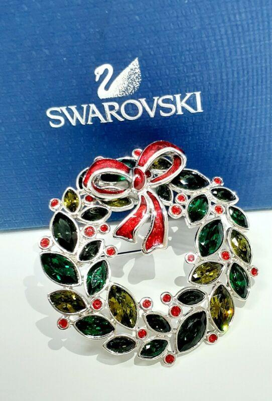 Retired Signed Swarovski Christmas Wreath Pin -- Brooch -- Rare -- Free Ship!