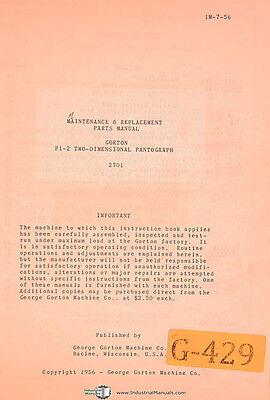 Gorton P1-2 2701 Pantograph Maintenance Replacement Parts Manual 1956
