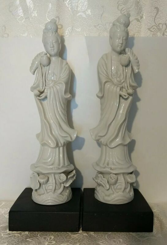 Pr Vintage Chinese Blanc De Chine Guanyin Figurines Statues Immortals Goddesses